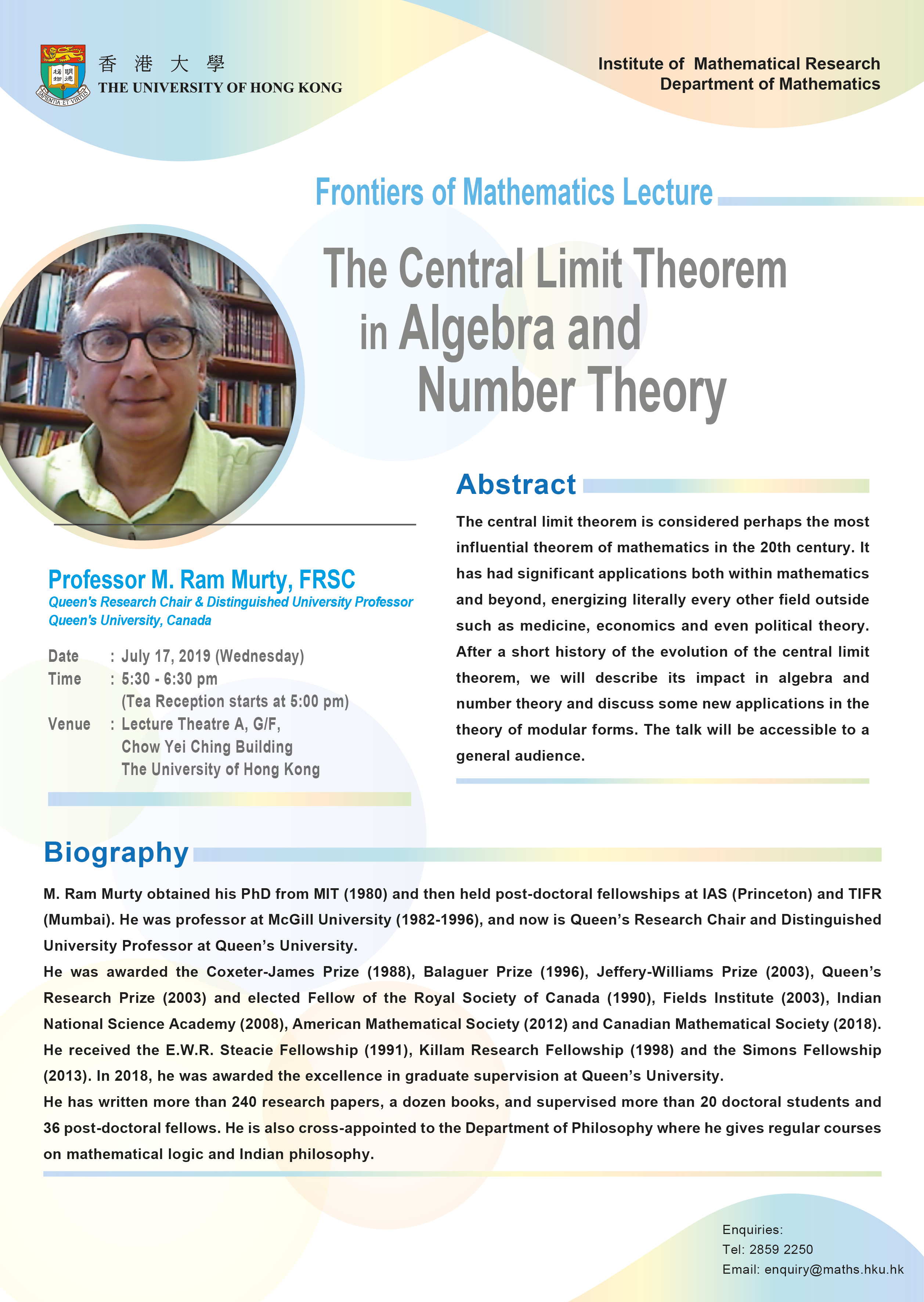 Frontiers of Mathematics Lectures
